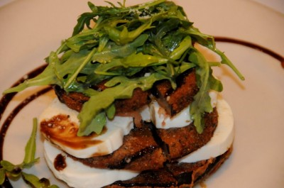 Roasted eggplant and chevre stack